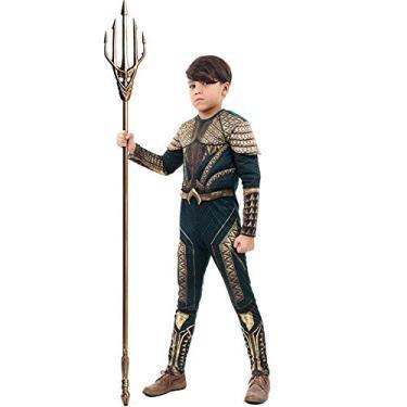 Imagem de Fantasia Aquaman Infantil Luxo Com Músculos Liga da Justiça Sulamericana M 5-8