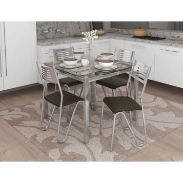 Imagem de Conjunto de Mesa com 4 Cadeiras Brenda Cromado e Marrom