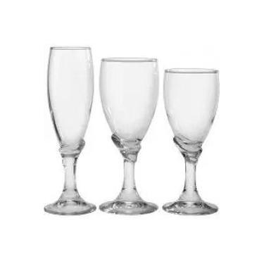 Jogo de taças de vidro Bormioli 18 peças: água, vinho e champagne (6 de cada)