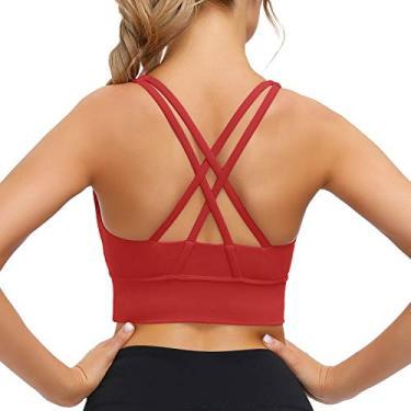 Sutiã esportivo Lykoxa para mulheres, sutiã com tiras cruzadas nas costas acolchoado para ioga com bojos removíveis, Vermelho, Medium