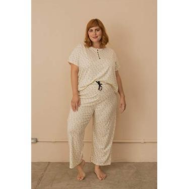 Pijama Algodão com Botões Plus Size Bege-48/50