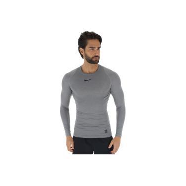 Camisa de Compressão Manga Longa Nike Pro LS - Masculina - CINZA  ESCURO PRETO Nike 1747d0b0bcb1a
