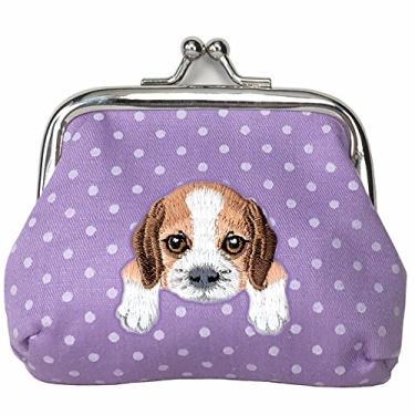 [Beagle] Carteira de moedas com fivela de cachorro bordada fofa, Roxa, Small