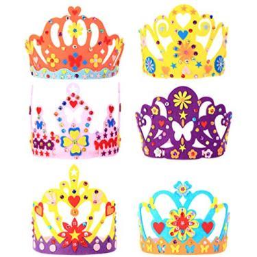 STOBOK 6 Define Handmade Artesanato Kits Princesa Tiaras Da Coroa Artesanais Kit DIY Coroa Do Partido Chapéu Crianças Do Jardim de Infância Brinquedos Menina DIY Fazendo Chapéu Favores