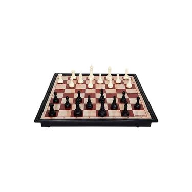 Jogo De Xadrez Dama Tabuleiro Magnético 2 Em 1 Dobrável