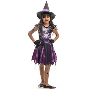 Imagem de Fantasia de Bruxa Com Chapéu e Luvas Angeline Roxa Halloween Infantil P 2-4