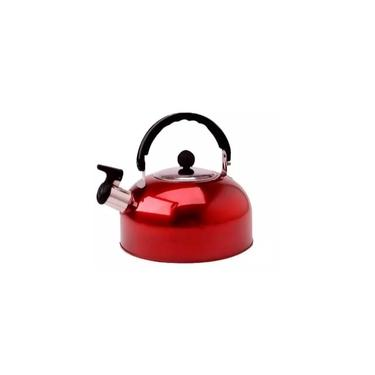 Chaleira com Apito 2 Litros Aço Inox Vermelha P/café Chá