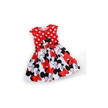 Vestido Infantil Criança Menina Disney Minnie Vermelho