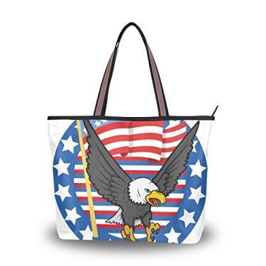 ColourLife Bolsa feminina de poliéster com alça de ombro e águia careca, tema EUA, Colorido., Large