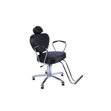 Imagem de Poltrona Cadeira Hidraulica Reclinável Diamante P/ Cabeleireiro,barbeiro, Maquiagem, Fortebello Móveis, Cor: Preto 3d