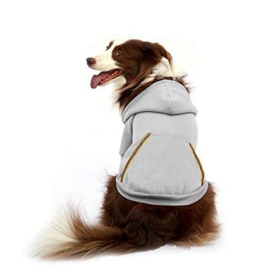 Moletom com capuz para cachorro com capuz de lã para cães pequenos, médios e extrapequenos, extra pequenos, cães, cinza, rosa, vermelho, roxo, com orifício de arnês e listras reflexivas, pulôver, pulôver, cachorros, capuz, jaqueta quenteFooubaby XL cinza