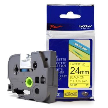 Fita Laminada p/ Rotulador Brother TZe-651 Preto Sobre Amarelo 24mm
