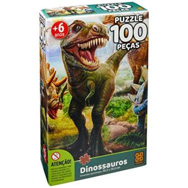 Imagem de Quebra-cabeca Cartonado Dinossauro 100 Pcs - 01 Unidade Grow Multicor