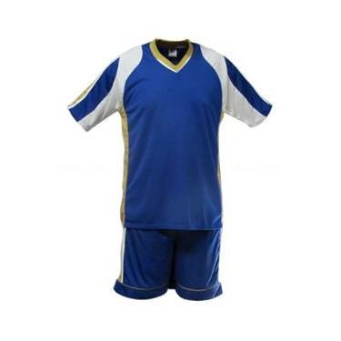Uniforme Esportivo Texas 1 Camisa de Goleiro Florence + 7 Camisas Texas + 7 Calções - Royal x Branco x Dourado