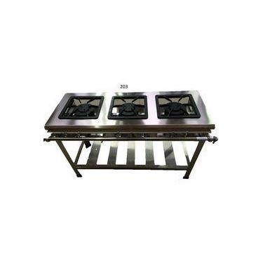 Fogão Industrial 3 Bocas - Alta Pressão - 30x30 - Canto Cozinha - Metal Brey