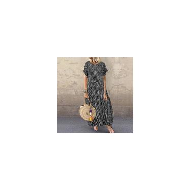 Zanzea feminino verão manga curta polka Dots casual solto maxi vestidos plus size vestido longo Preto 5XL