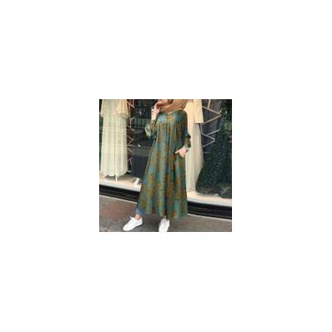 Zanzea Mulheres Muslim Abaya Islamic Maxi Vestido Retro Primavera Casual Kaftan Vestido Longo Estampado Floral Verde 2XL