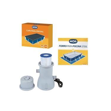Kit Filtro 3.600 L/h + Capa + Forro Para Piscina Premium 3700 L - Mor