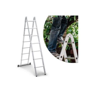 Escada Articulada em Alumínio Vonder 2x7 14 Degraus 120Kg 3 em 1 com Travas de Segurança Cinza