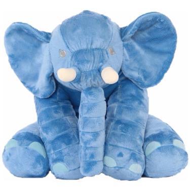 Almofada  Elefante Para Bebê 67Cm Azul  menino