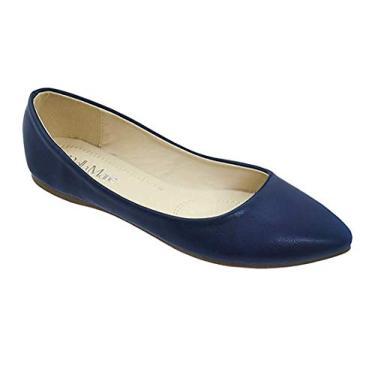 Bella Marie Angie-53 sapatilha feminina clássica bico fino balé sem cadarço, Azul marinho, 10