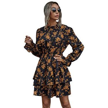 Vestido feminino curto de manga comprida com estampa floral e laço da Floerns, Black Brown, M