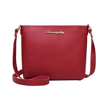 Imagem de Bolsa de ombro de couro PU mini bolsa simples para celular bolsa de ombro feminina (vinho vermelho)