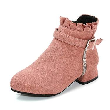Imagem de Minibella Bota feminina de camurça sintética, salto baixo, zíper lateral, botas de cano baixo, rosa, 3 Little Kid
