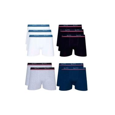 Kit 10 Cuecas Box Lupo Algodão Boxer Masculina Adulto Cotton Preto/ Branco/ Azul Marinho/ Mescla G