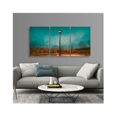 Quadro Abstrato Poste Luz Design Jogo 3 Peças em Tecido