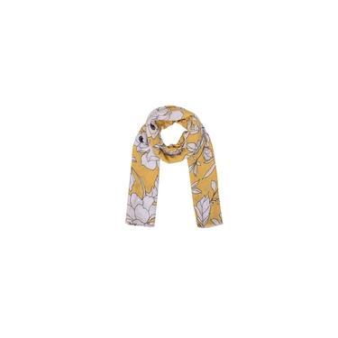 Echarpe Amarela Floral Branco Algodão 180X90 Cm