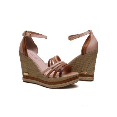 Imagem de Sandália  Anabela Plataforma cores moda SB Shoes ref.3268 nude/caramelo  feminino