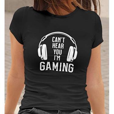 Camiseta Baby Look Eu estou jogando Feminino Preto Tamanho:M