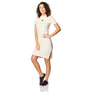 Vestido Midi Canelado Colcci Fitness, Feminino, Bege Gipsy, M