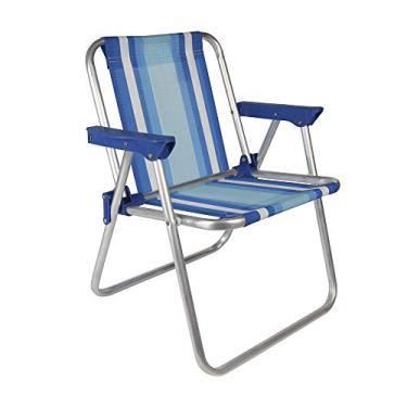 Cadeira Infantil Alta Alumínio Azul Mor