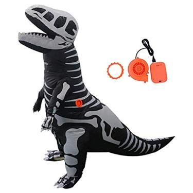 Imagem de MEIYIN Fantasia inflável de dinossauro para adultos/adolescentes Tiranossauro Rex esqueleto Halloween