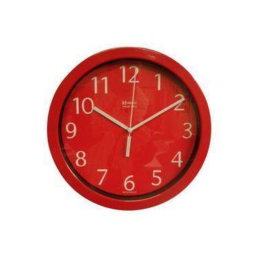 595222d6a3c7d Relógio 6718 de Parede Alumínio 25 cm Vermelho Vidro Herweg