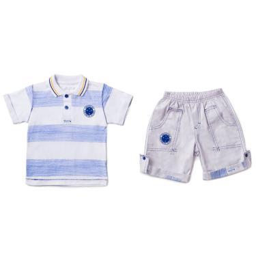 Conjunto Camiseta Polo e Bermuda Cruzeiro, Rêve D'or Sport, Criança Unissex, Branco/Azul, 8