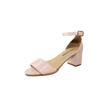 Sandália Salto Baixo Grosso Luiza Sobreira Verniz Nude Mod. 4077  feminino
