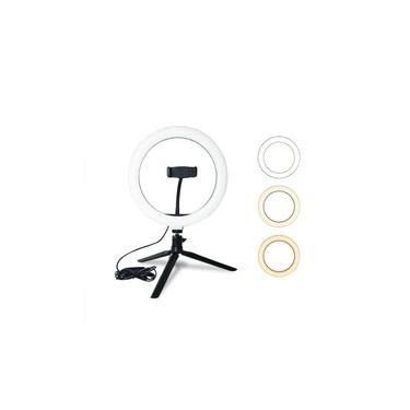 """Iluminador LED Ring Light 10"""" c/ Tripé e Suporte Celular"""