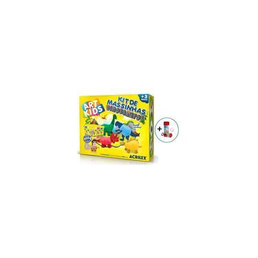 Imagem de Massinha De Modelar Brinquedo Infantil Atóxico Kit 25 peças Dinossauro Colorido 600g Acrilex
