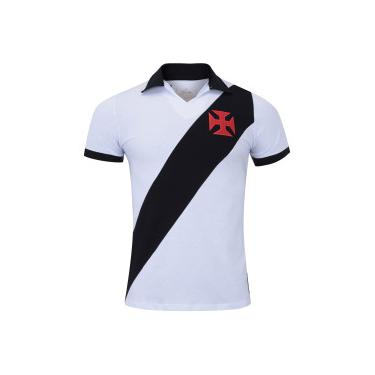 Camisa Polo do Vasco da Gama Paris - Masculina - BRANCO PRETO Braziline 671a262aec9a2