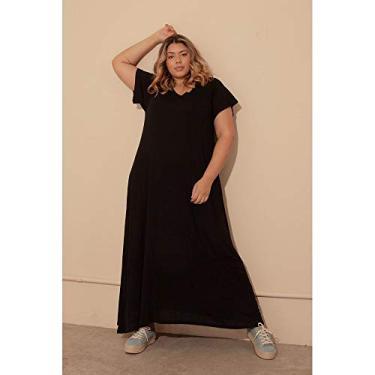 Vestido Êvase Duas Texturas Plus Size Preto-48/50