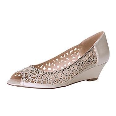 Sapatos de noiva Erijunor femininos Peep Toe salto baixo anabela de casamento strass brilhante, Champagne, 5