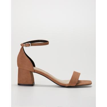 sandália salto grosso de couro