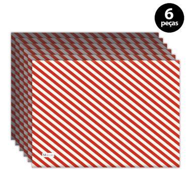 Imagem de Jogo Americano Mdecore Natal Listras 40x28 cm Vermelho 6pçs