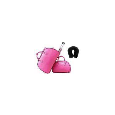 Imagem de Kit Conjunto Mala de Rodinha Mala de Mão Sintético Pink com Almofada a Bordo Viagem
