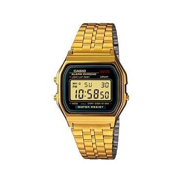 aa27a60be27c Relógio Unissex Digital Casio A159WGEA-1DF - Preto Dourado