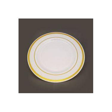 Prato Refeição Branco Com Borda Dourada Descartável Premium 06 Unidades Silverplastic