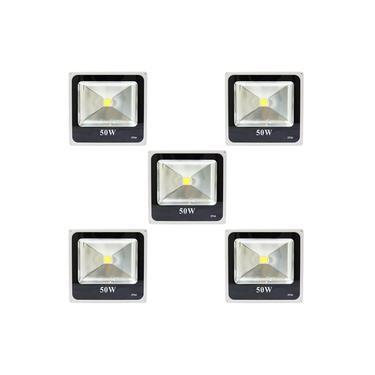 Holofote Refletor Super LED 50w Branco Frio - A Prova Dágua - 05 PEÇAS